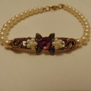 pearl bracelet with purple roses